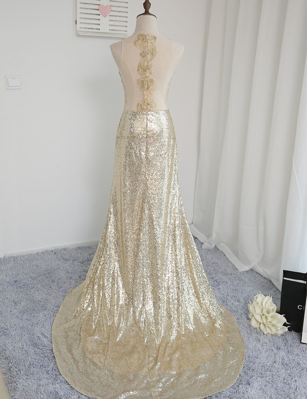 High Collar See Through Champagne Sequins Slit Mermaid Bridesmaid Dress