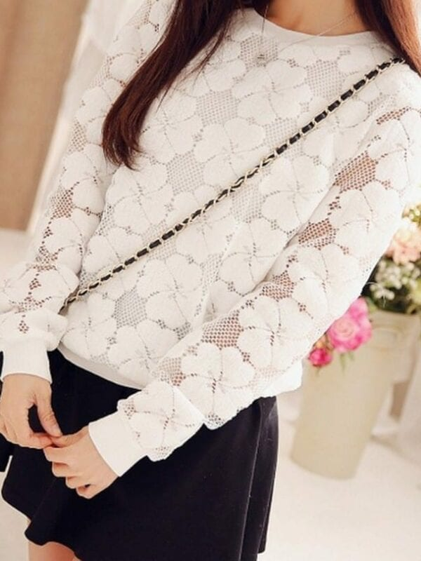 Round Neck Lace Hollow Out Sweatshirt