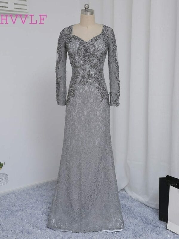 e50a18b02c57 Mermaid V-Neck Long Sleeves Silver Lace Beaded Mother Of The Bride Dress -  Uniqistic.com