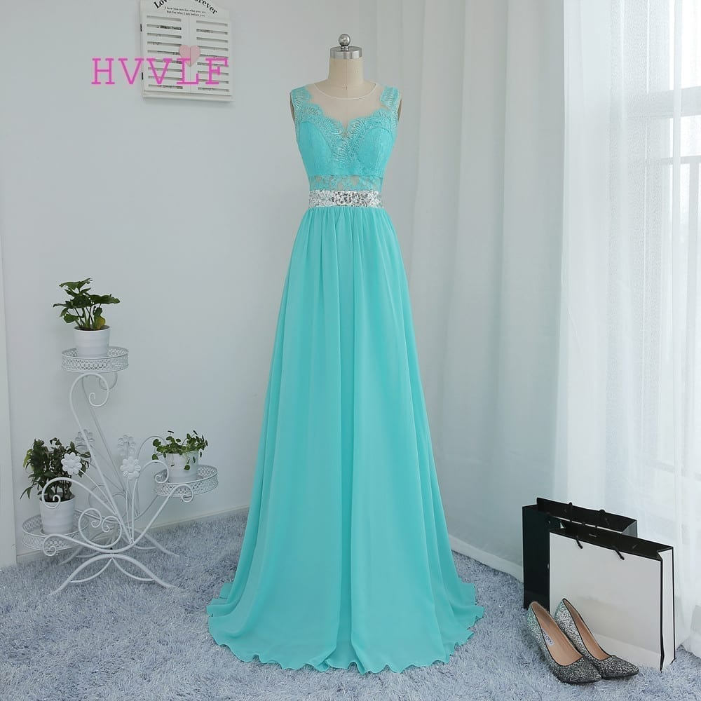 A Line See Through Mint Green Chiffon Lace Sequins Bridesmaid Dress Uniqistic Com