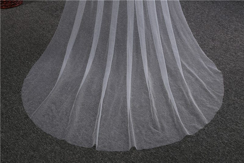 Cathedral Long Wedding Veil With Comb 3m