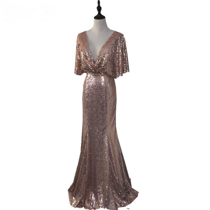 Rose Gold Deep V-neck Backless Mermaid Sequined Bridesmaid Dress
