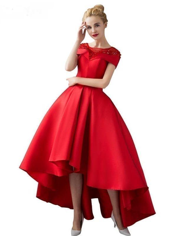 Asymmetrical Short Sleeve Satin Ball Gown Evening Dress