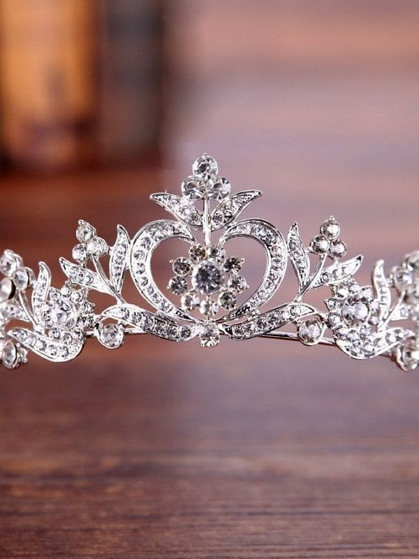 Vintage Silver Gold Crystal Tiara Princess Crown Wedding Hair Jewelry