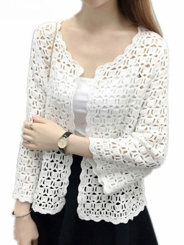 Crochet White Lace Hollow Out Knitted Cardigan Blouse