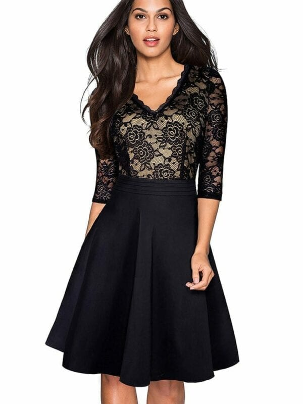 Vintage Black Flower Elegant Lace Ruffle See Through Sleeve A-line Flare Dress