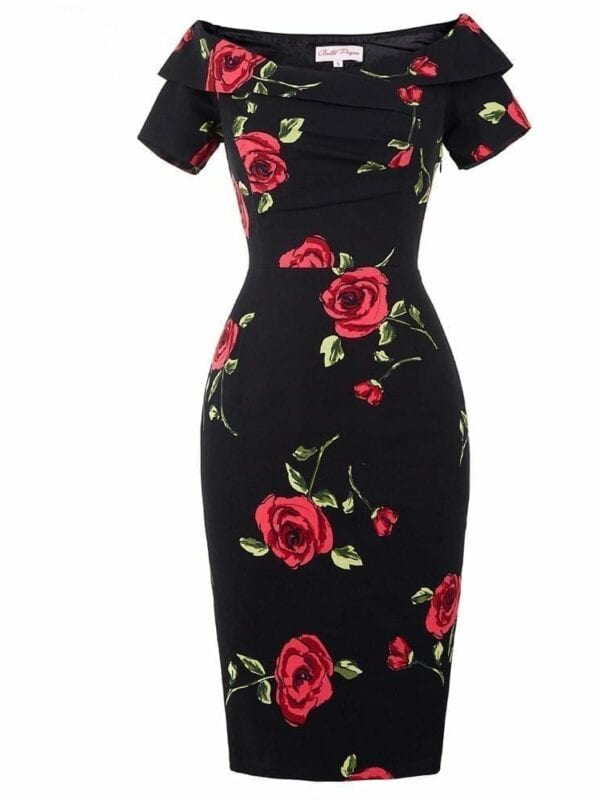 Off Shoulder Floral Swing Bodycon Dress