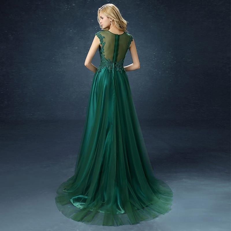 Green A-line Embroidery Court Train Long Evening Dress