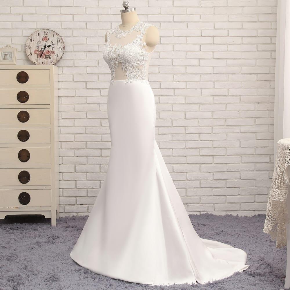 High Collar Applique Lace Vintage Mermaid Beach Wedding Dress