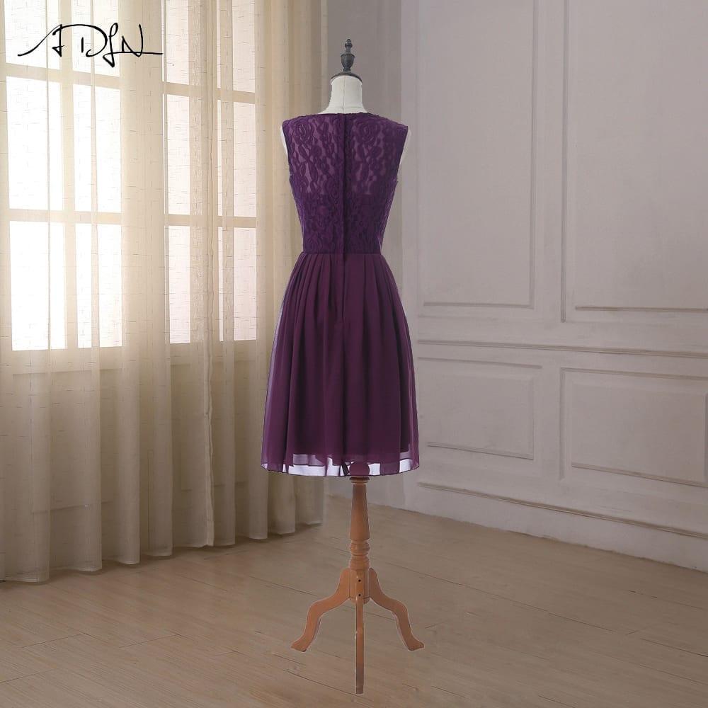 Cap Sleeve Lace Chiffon A-line Zipper Up Back Bridesmaid Dress
