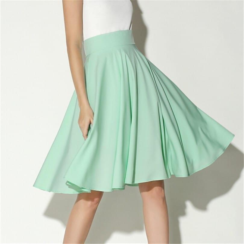 High Waist Petticoat Knee Length Vintage Skater Skirt