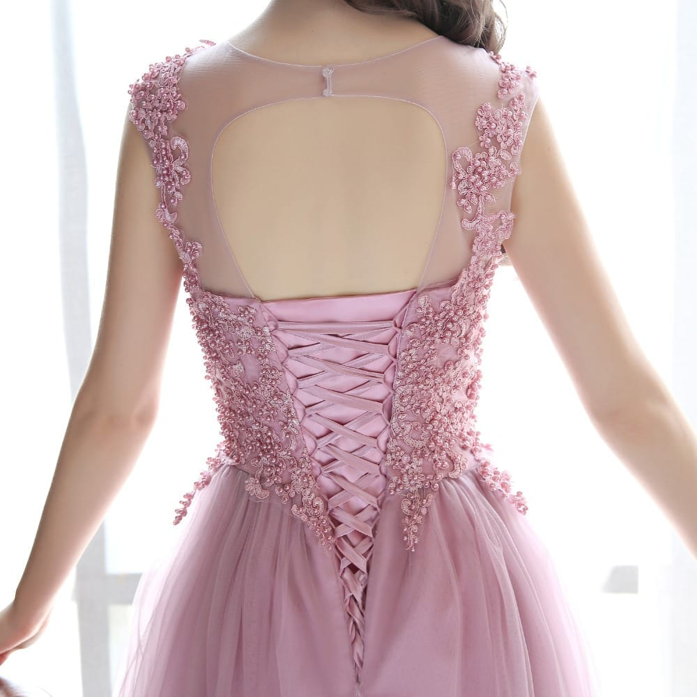 Dark Pink Silver Lace Tulle Bridesmaid Dress