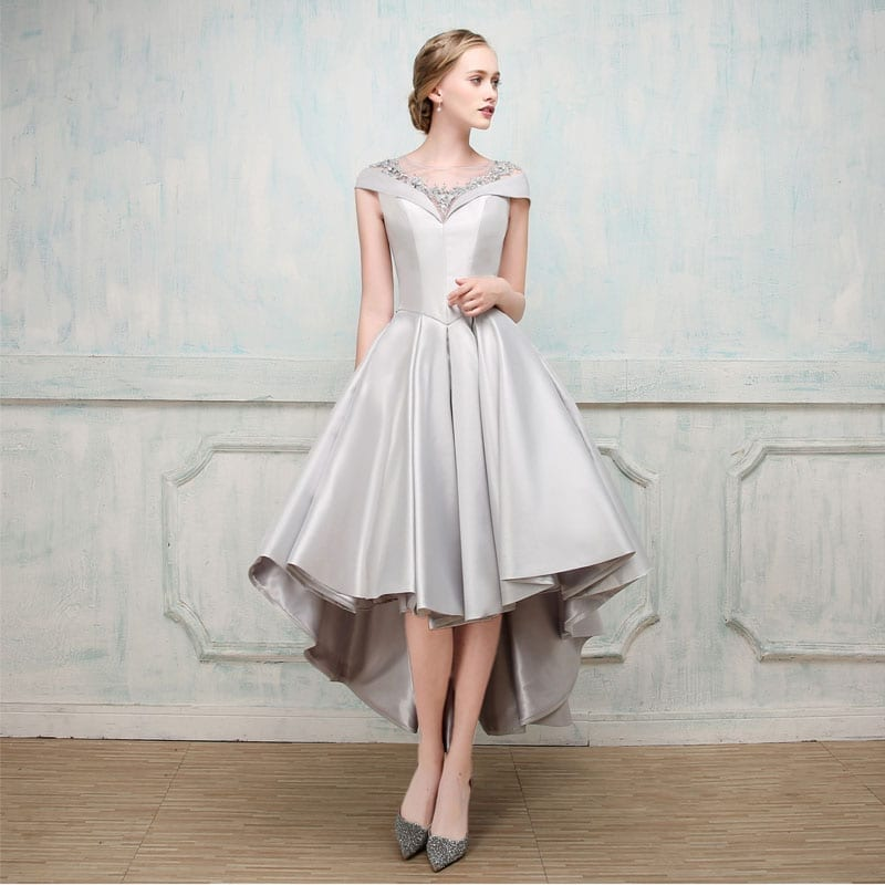 117f42755b CEEWHY Asymmetrical Short Sleeve Ball Gown Evening Dresses with Jacket 2017 Luxury  Prom Formal Dress Evening