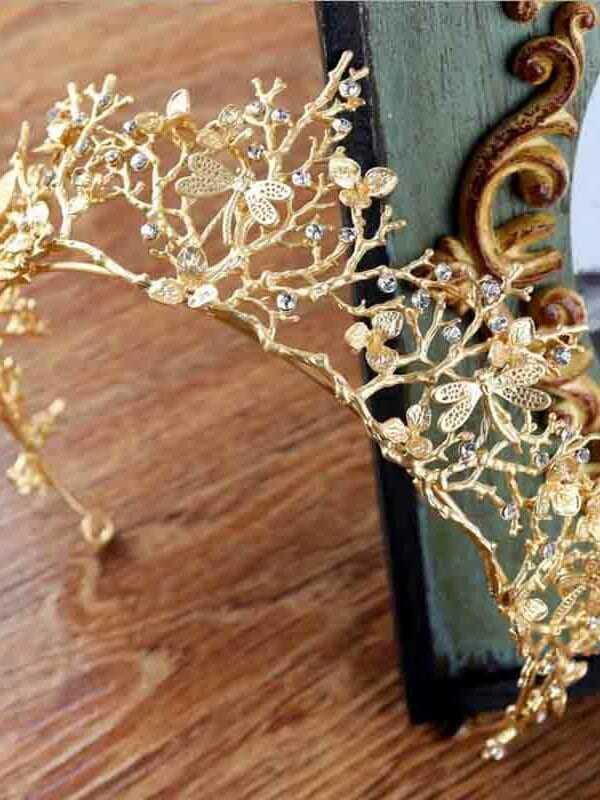 Vintage Baroque Gold Crystal Tiara Crown Headbands Wedding Hair Accessories