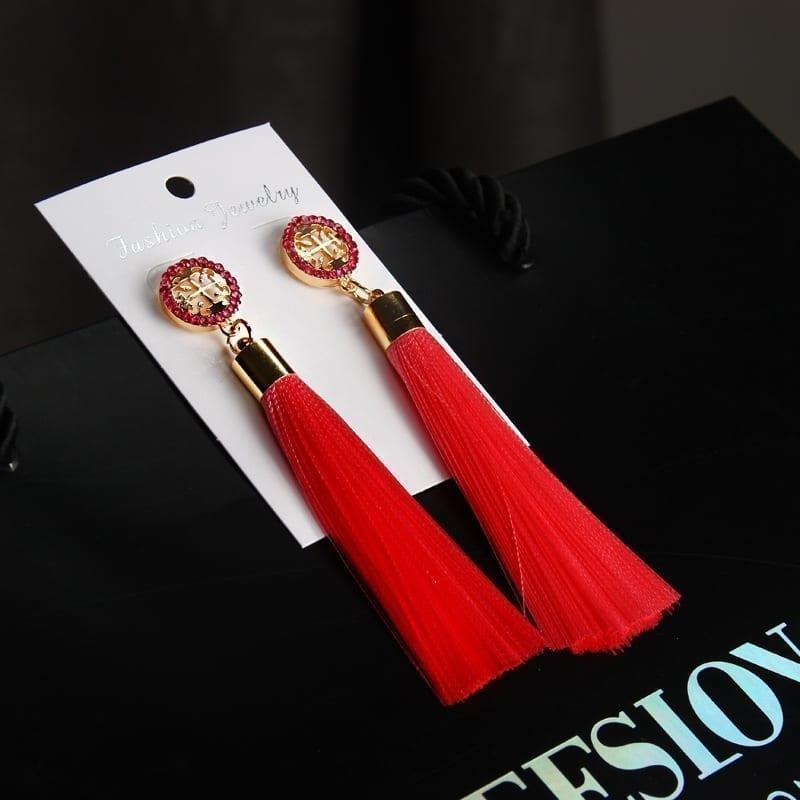 Rhinestone Long Tassel Earrings Jewelry