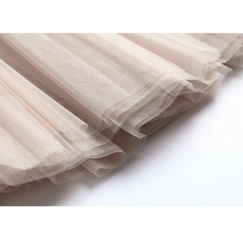 High Waist Knee Length Tulle Skirt