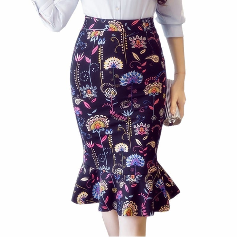 Elegant High Waist Vintage Office Pencil Print Skirt