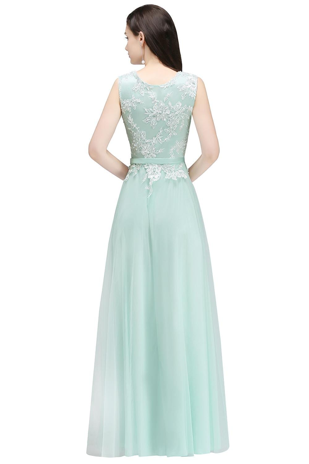 Elegant Mint Green Pink Burgundy Tulle A-line Bridesmaid Dress