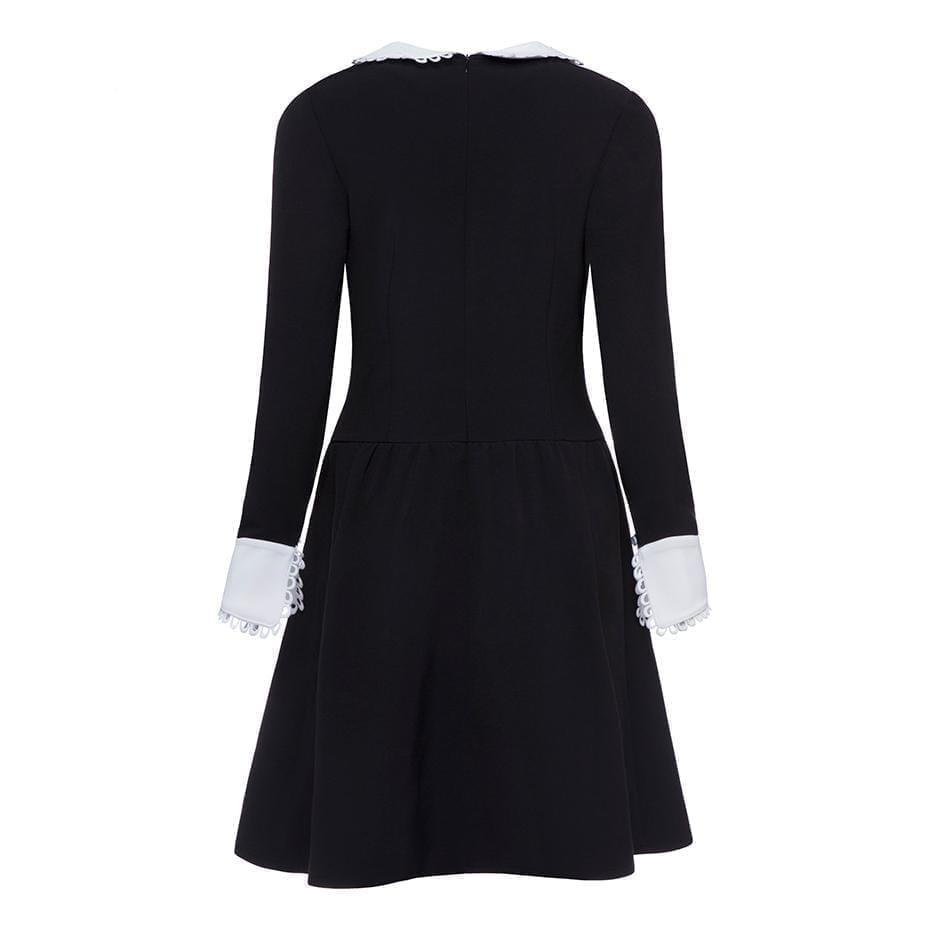 Retro Black A-line Knee-length Dress