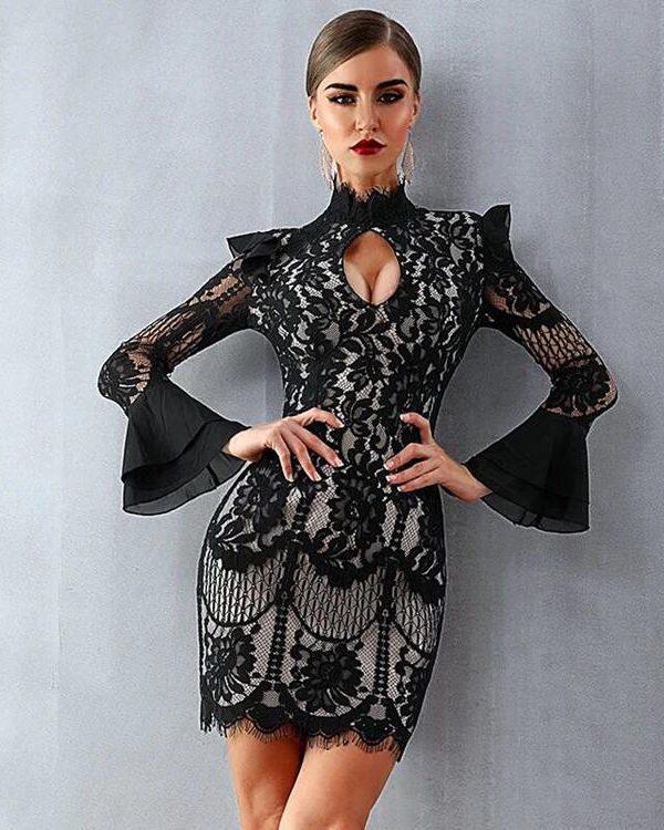 Vintage Bodycon Black Lace Dress