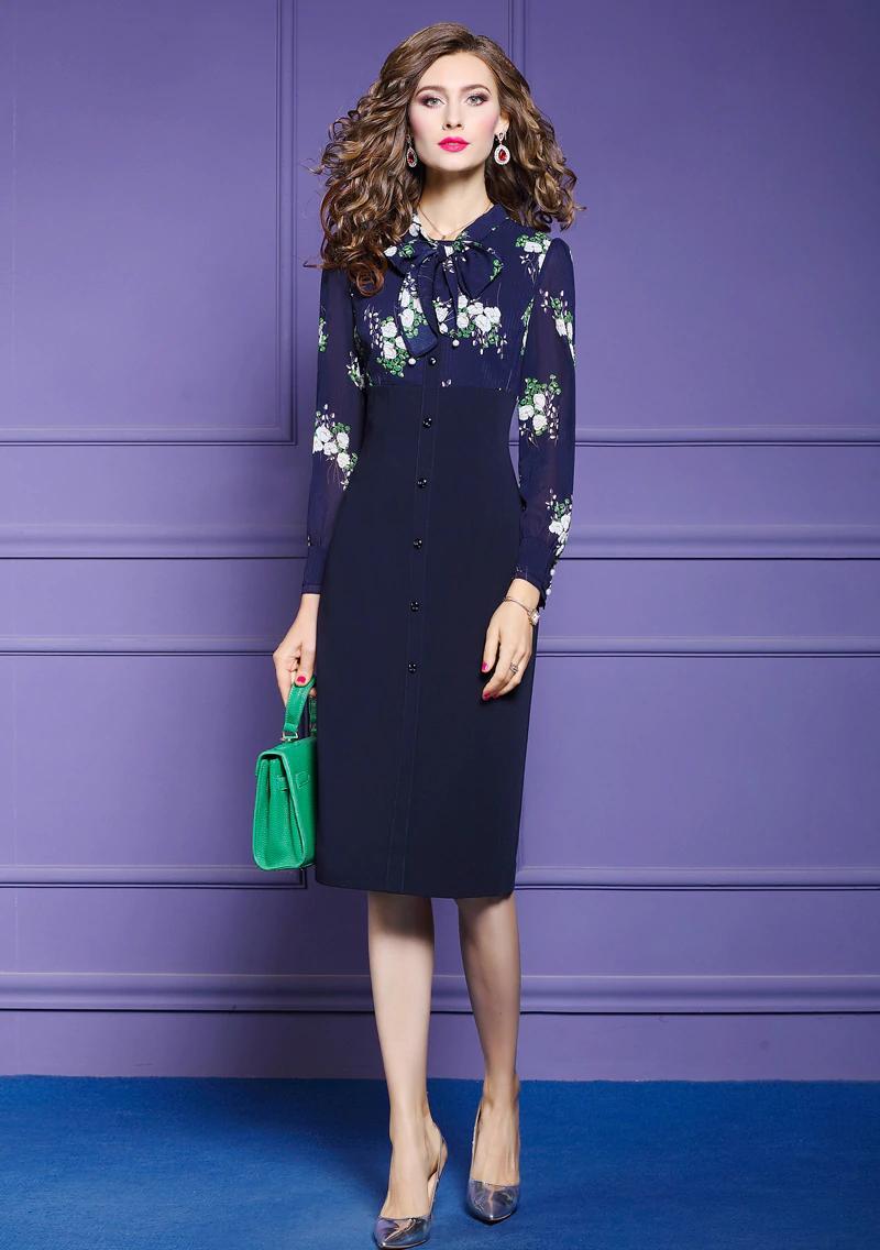 Elegant Floral Knee-length Office Dress