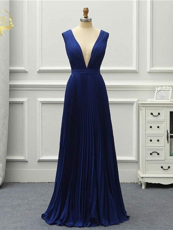 Vintage Royal Blue V Neck Backless Long Evening Bridesmaid Dress