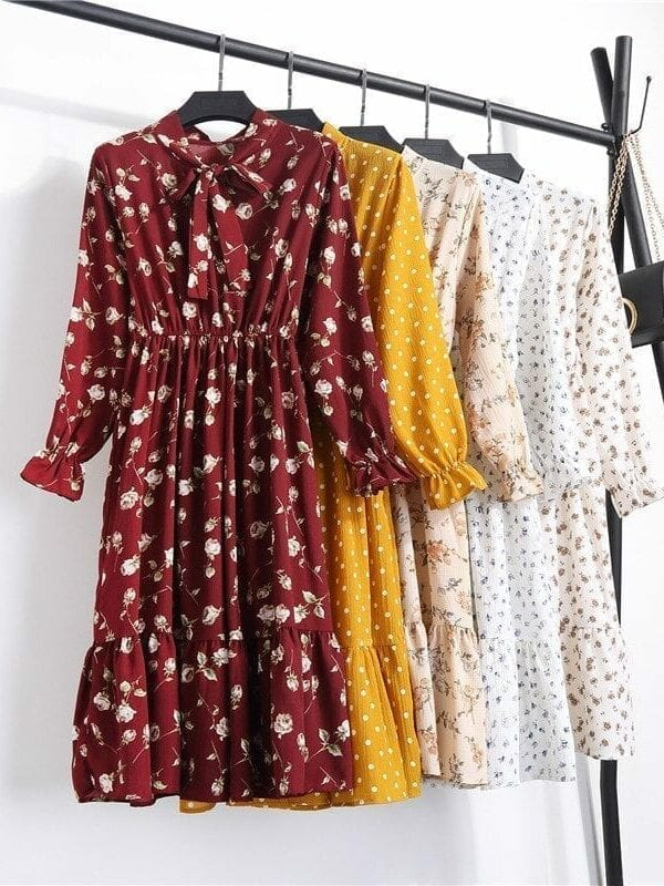 Butterfly Long Sleeve O-neck Floral Bohemian Dress