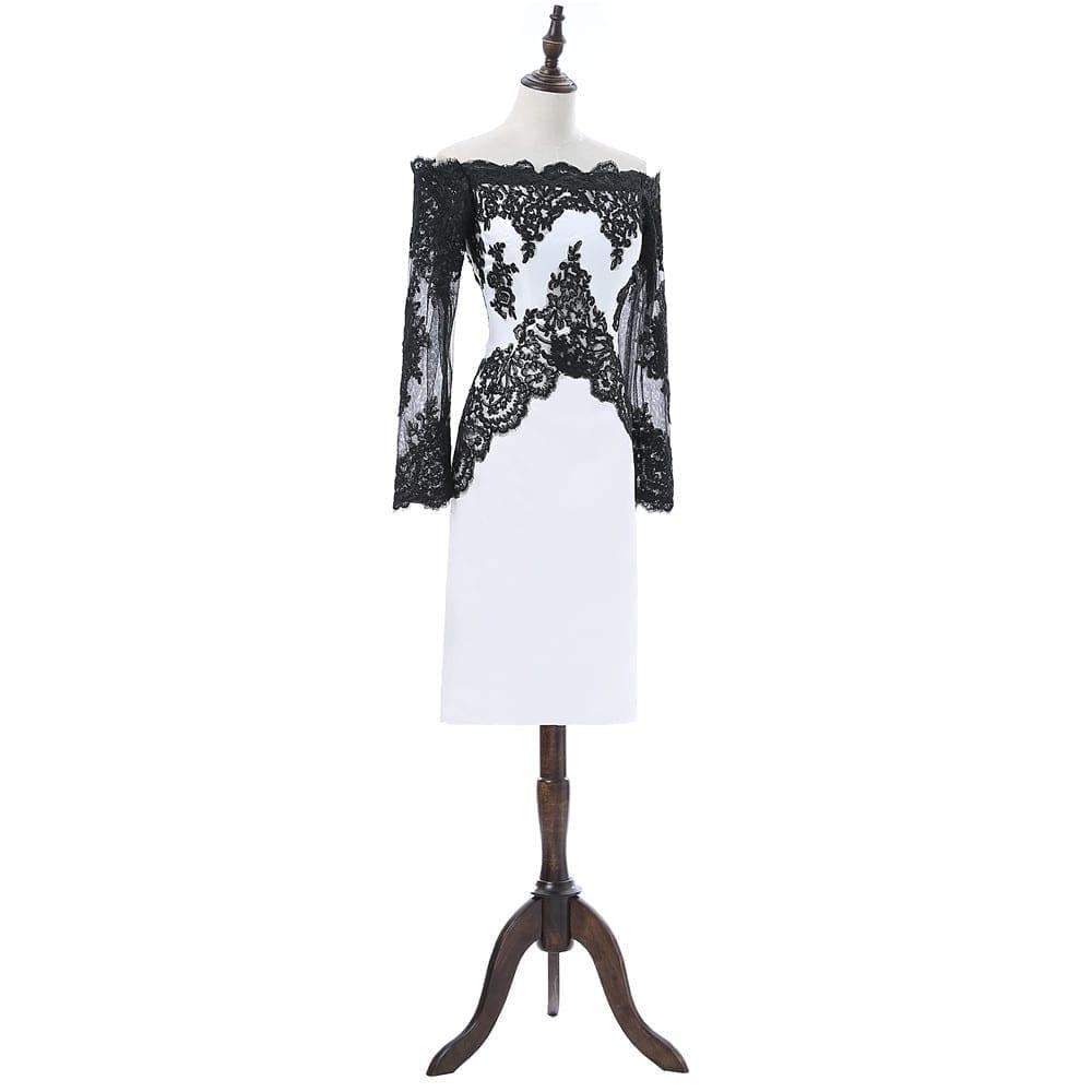 Black White Sheath Long Sleeves Knee Length Satin Appliques Lace Elegant Cocktail Dress