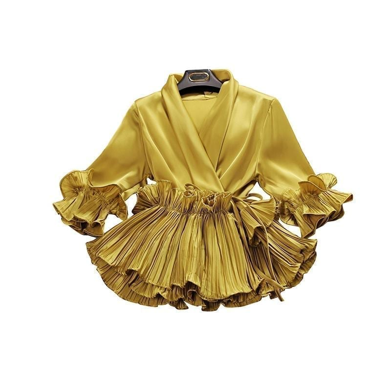 V-neck Pleated Ruffled Lace Chiffon Shirt