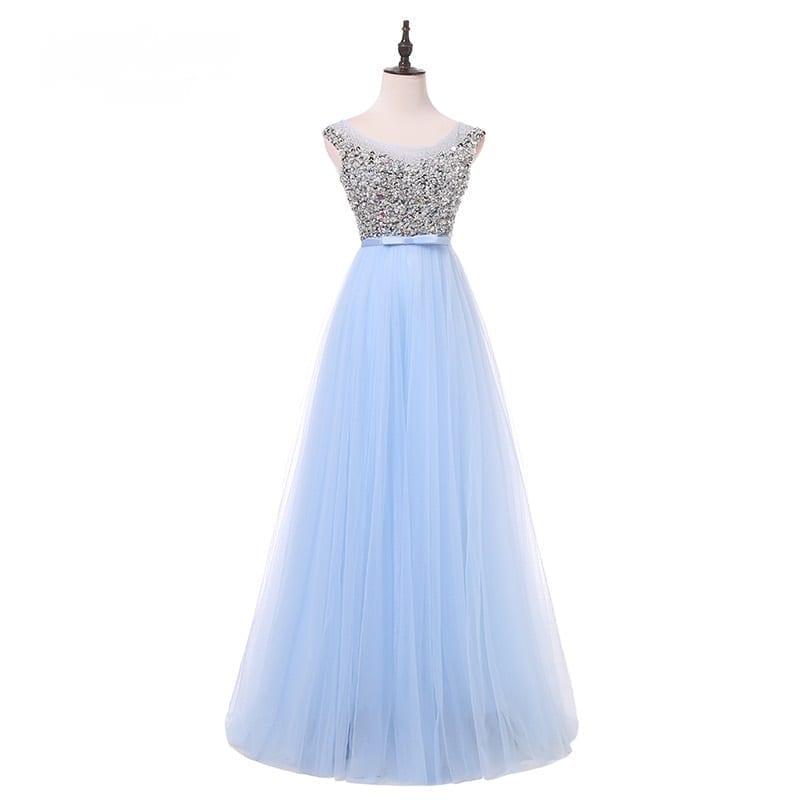 Luxury Bling Beading Tulle Crystal Pearls Floor Length Evening Bridesmaid Dress