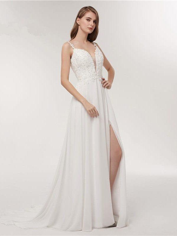 Spaghetti Strap Deep V-neck White Chiffon Backless Beach Wedding Dress