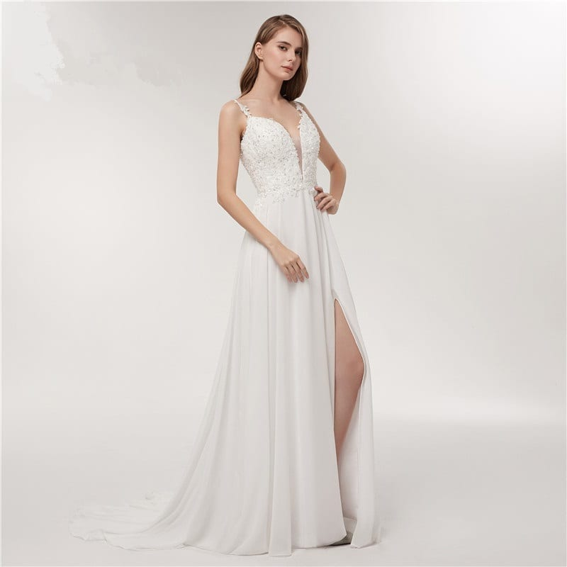 Spaghetti Strap Deep V-neck White Chiffon Backless Beach Wedding Dress