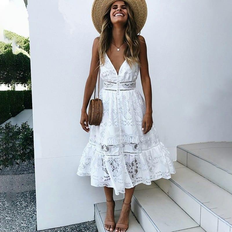 V-neck Lace Strap Button White Backless Midi Dress