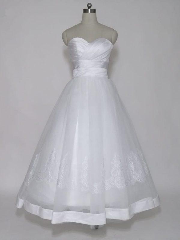 White Tea Length Lace Up Back Sweetheart Short Wedding Dress