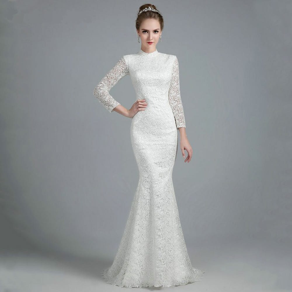 White Vintage Lace High Neck Long Sleeves Mermaid Wedding Dress