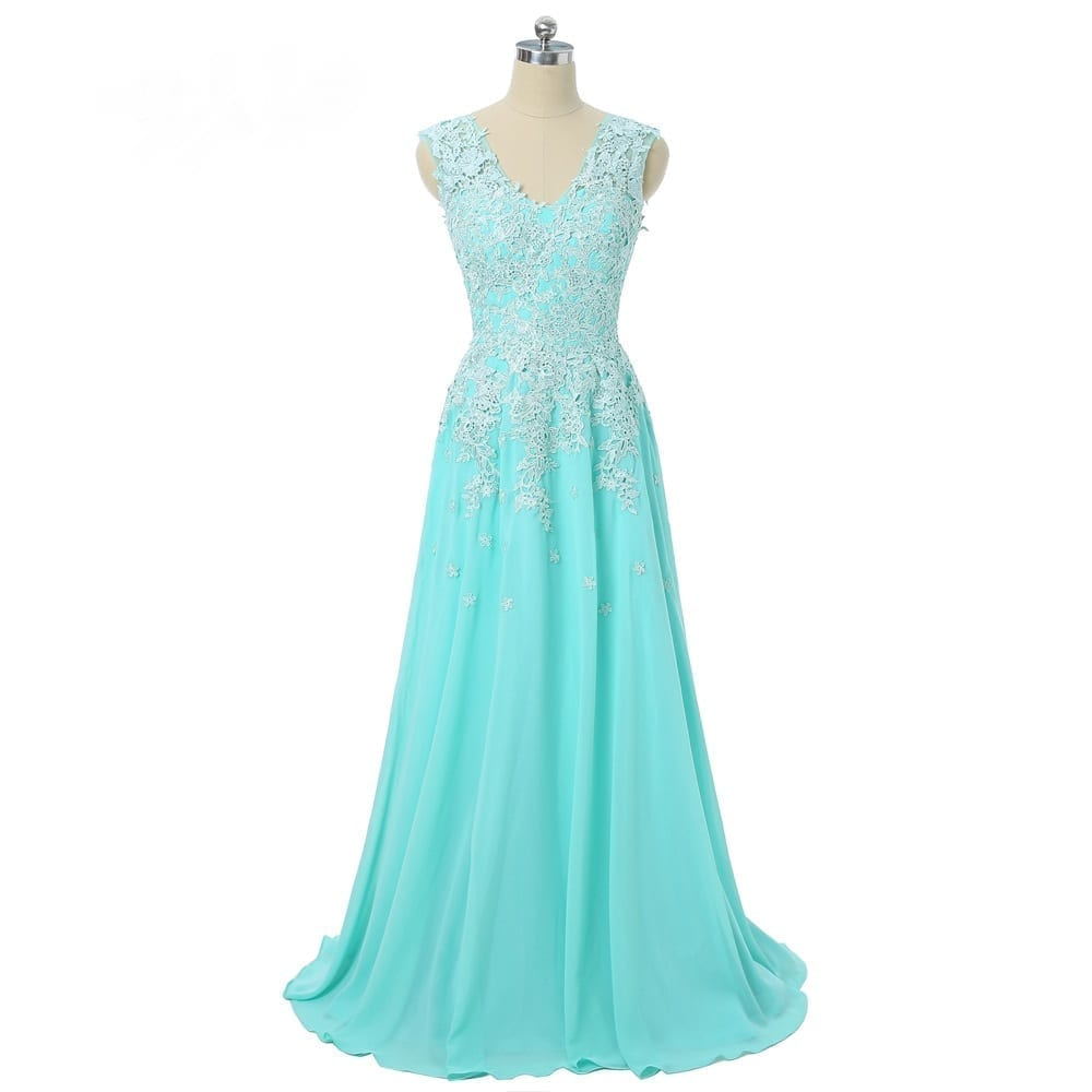 Turquoise A-line Cap Sleeves V-neck Chiffon Lace Long Bridesmaid Dress