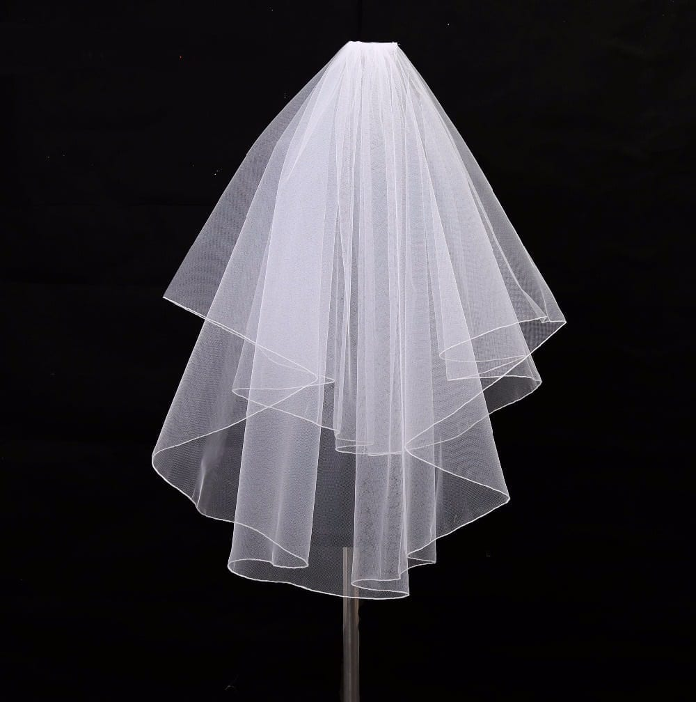 Two Layers White Ivory Tulle Wedding Veils With Comb