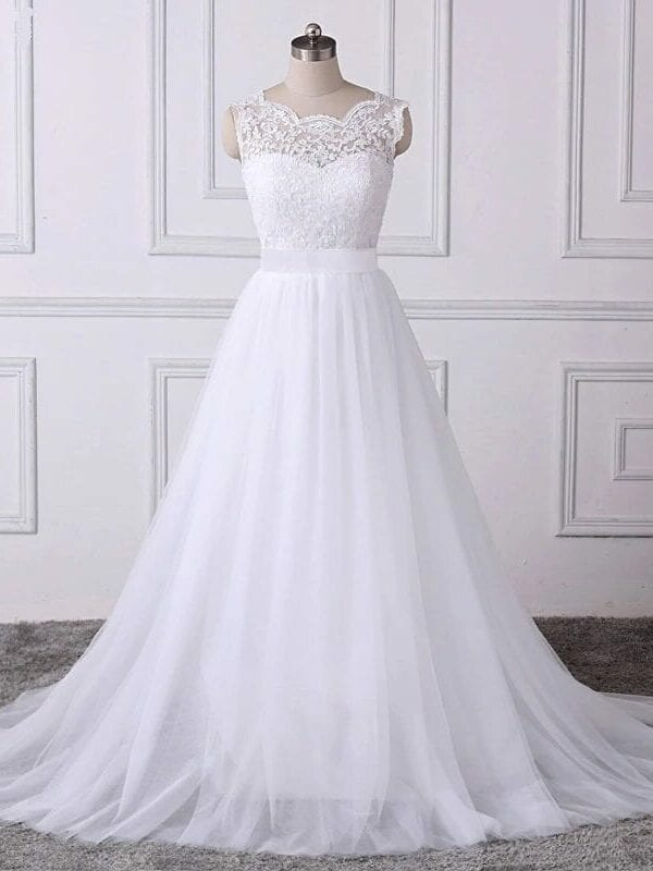 White Lace Appliques Boho A-line Backless Beach Wedding Dress
