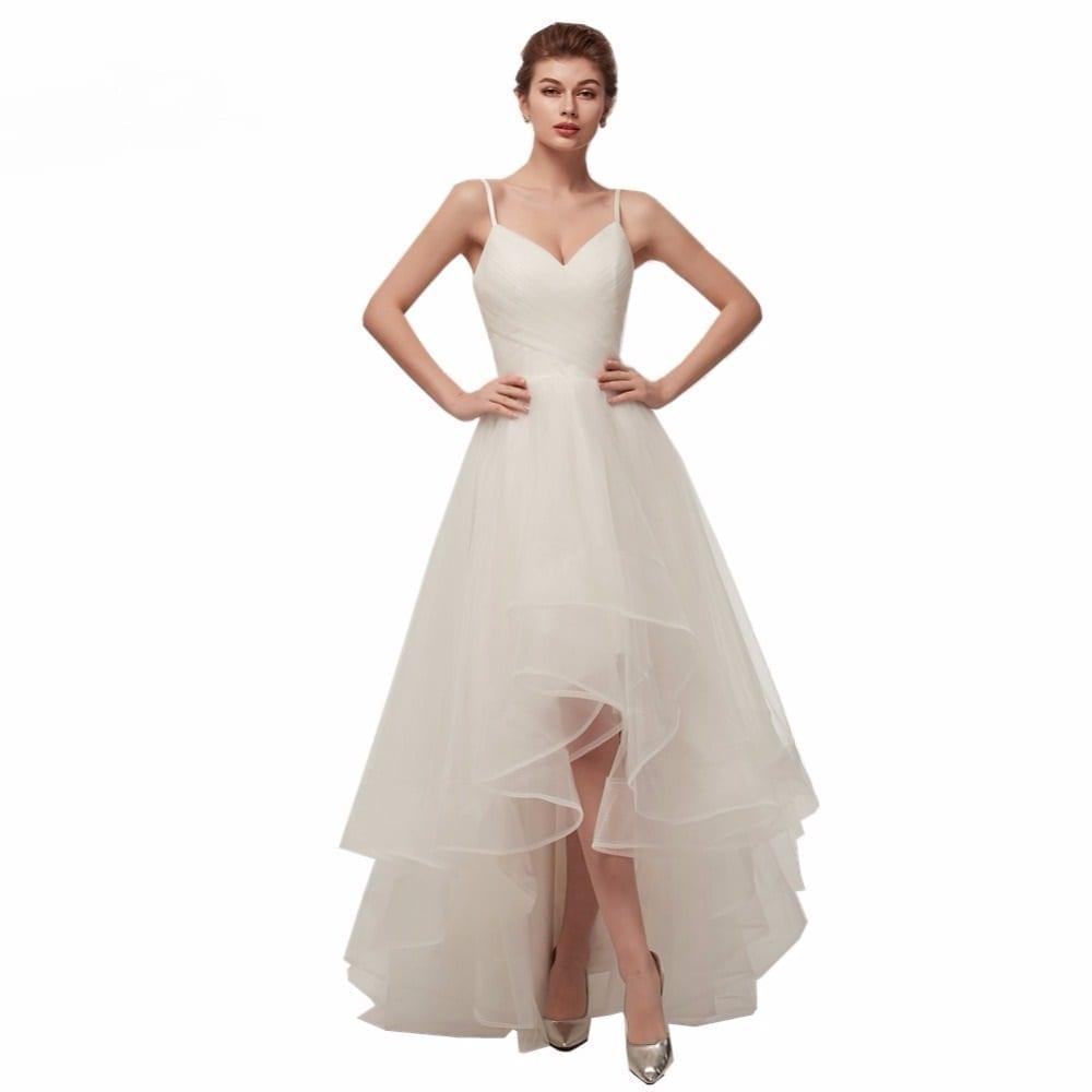 Spaghetti Straps V Neck Tulle Short Front Long Back Wedding Dress