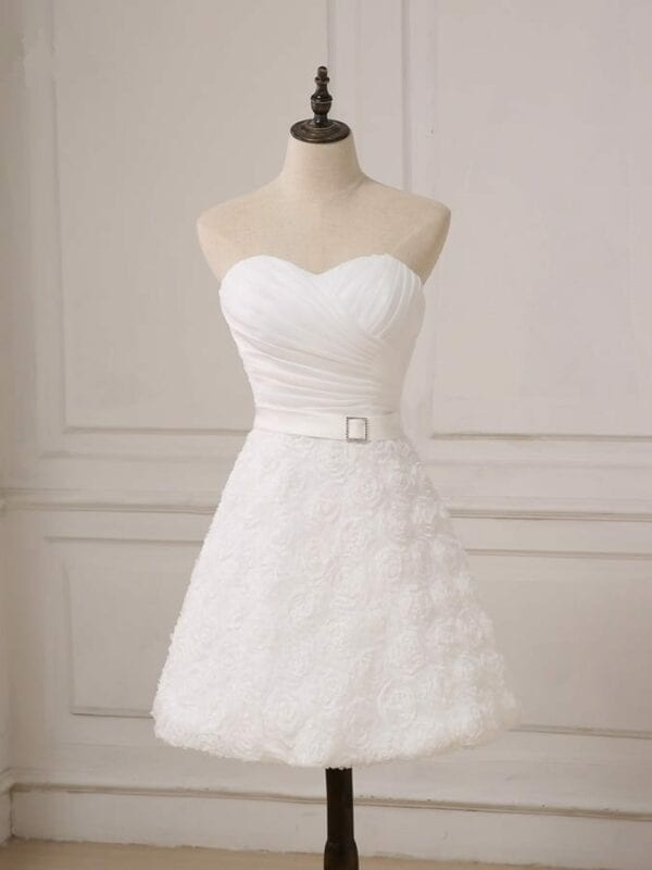 Sweetheart Knee Length A-line Lace Little White Short Wedding Dress