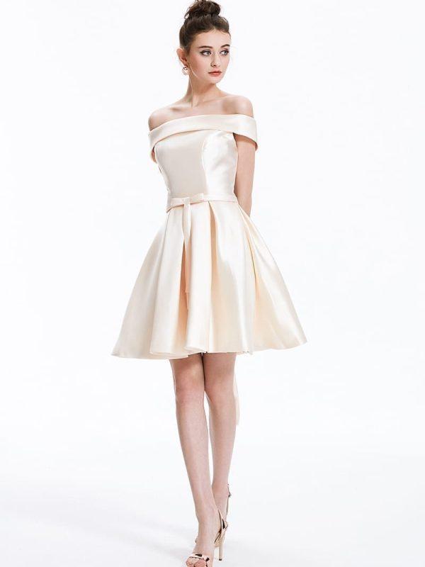 Elegant Champange Satin Short Bridesmaid Dress