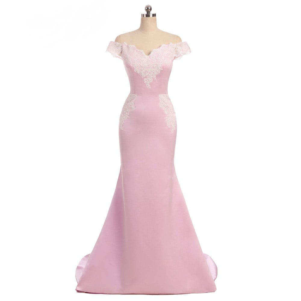 Pink V-neck Cap Sleeves Satin Lace Backless Elegant Long Bridesmaid Dress
