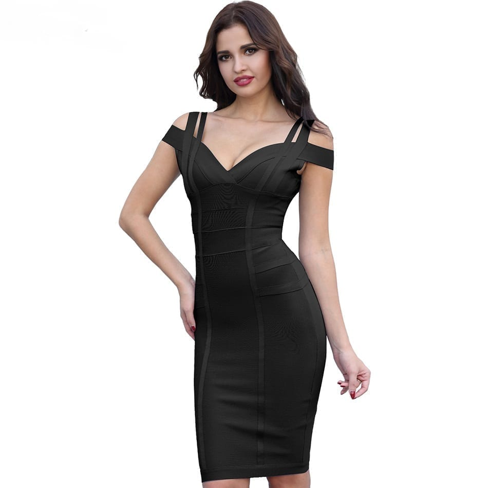 Black Off The Shoulder Bandage Bodycon Dress