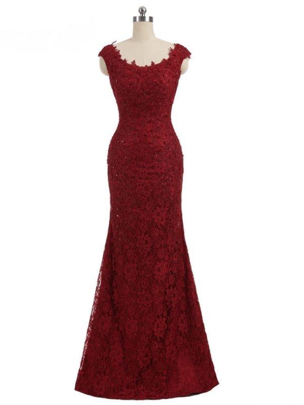 Burgundy Cap Sleeves Lace Beaded Backless Elegant Mermaid Long Evening Dress