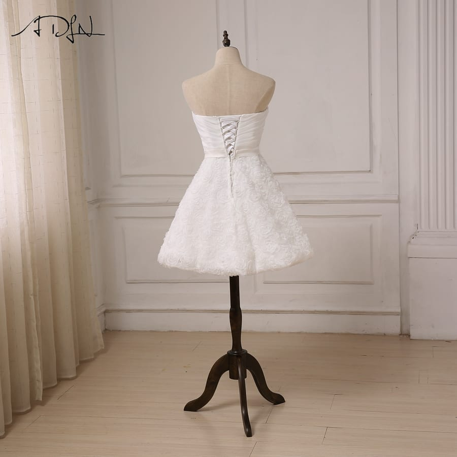 Sweetheart Knee Length A-line Lace Little White Short Wedding Dress