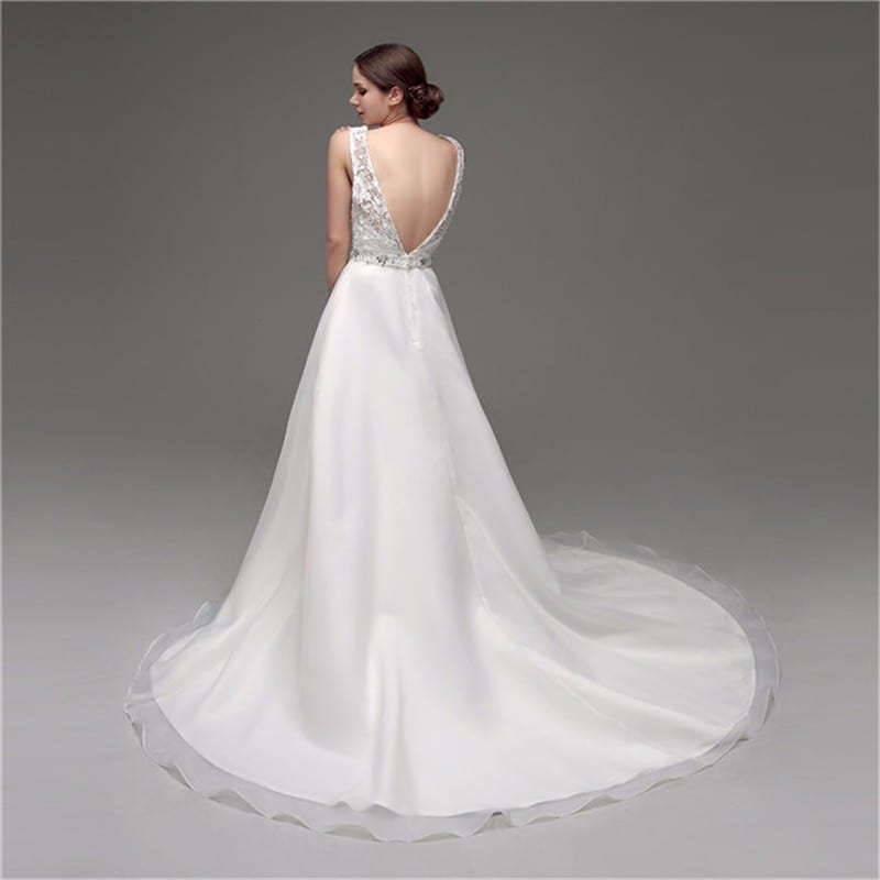 A-Line Organza Lace Chapel Train Straps Beaded Deep V Back Wedding Gown - Uniqistic.com