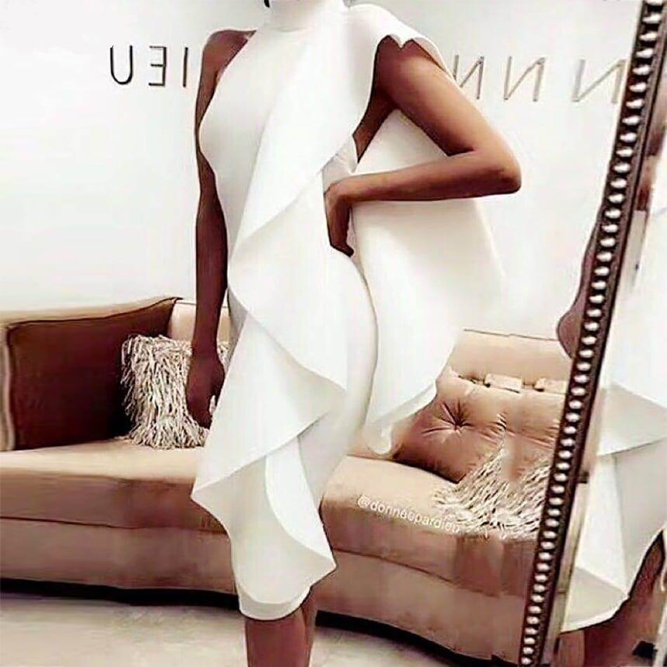 White Sleeveless Patchwork Ruffles Bodycon Dress