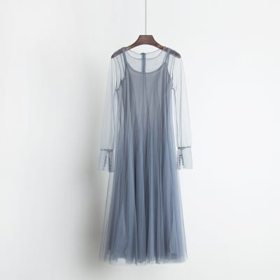 Solid Color Gauze Lace Pleated Twin Set Dress