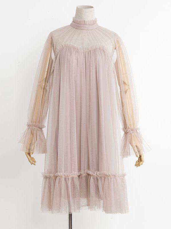 Elegant Loose Gauze Ruffle Hem Pleated One-piece Doll Dress