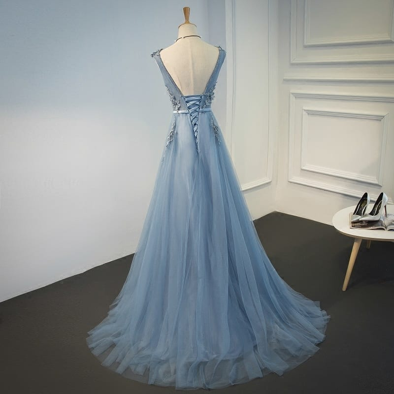 Tulle Appliques V Neck Lace Up Sleeveless Blue Long Evening Dress